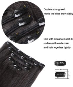 Ombre Natural Black to Chestnut Brown Highlights Clip-Ins