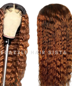 Wig - Ombre Brown Deep Wave Human Hair